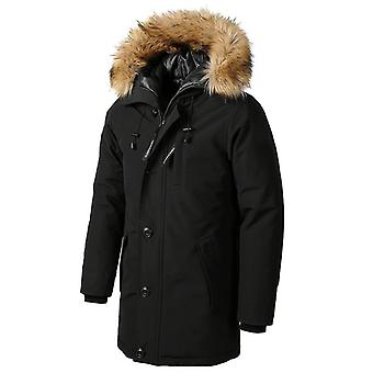 New Casual Faux Fur Collar Long Thick Parkas Jacket Coat Men Outwear Waterproof