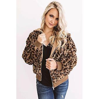 Naiset Viihtyisä Muhkea Leopard Takki