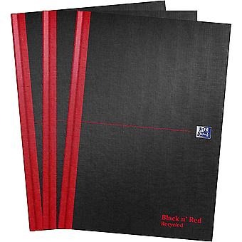 Oxford Black n' Red, A4 Notebook Hardcover, Recycled, Casebound, Lined, Pack 3