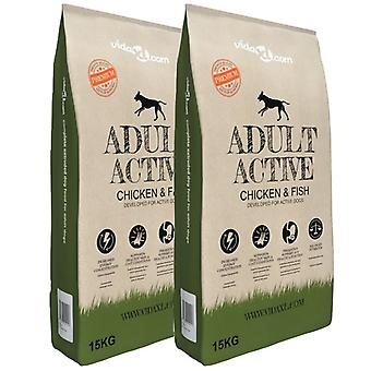 Premium Dry Dog Food Adult Active Chicken & Fish 2 x 15 Kg