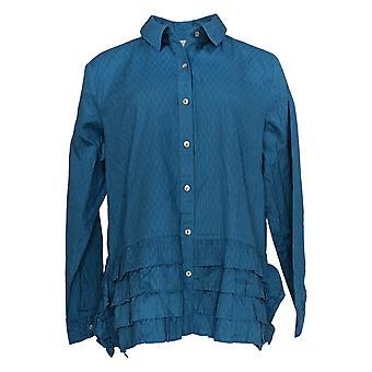 LOGO par Lori Goldstein Women's Top Button-Front Ruffle Blouse Blue A351655