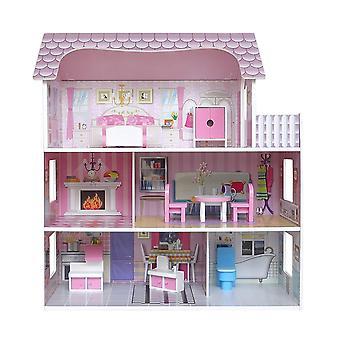 Kiddi styl dřevěný velký tří podlaží viktoriánský dřevěný domeček pro panenky s nábytkem