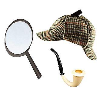 Sherlock Holmes Ausgefallenkleid Zubehör Set Hirschtalker Hut + Lupe + viktorianischen Aussehen Rohr d
