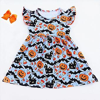 Kleinkind blau Orange Kürbis Kleid