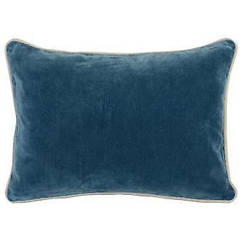Oreiller rectangulaire de jet de tissu avec la couleur pleine et les bords piped, bleu