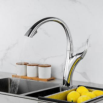 European Pull Out Kitchen Faucet With Deck Mounted Spout Stream Sprayer