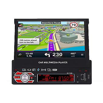 7158G 7 Inch 1 DIN Car MP5 Player Retractable Touch Screen GPS Navigation bluetooth FM AM Radio USB