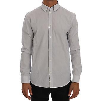 Frankie Morello White Blue Striped Casual Cotton Regular Fit Shirt