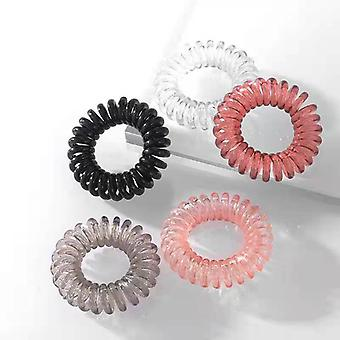 5pcs Unique Hair Band Phone Cord, Spiral Elastic Hair Band, For Girls