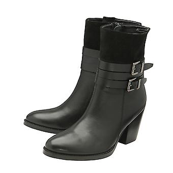 Ravel Ladies Women Black Colour Shores Leather Heeled Ankle Boots