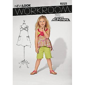 New Look Sewing Pattern 6221 Girls Childs Dress Top Shorts Sizes 3-8