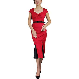 Chic Star Plus Size Vintage Pencil Dress In Red