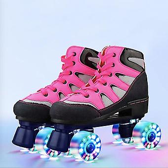 Adult Double Row Roller Skates Men And Women Four-wheel Flash