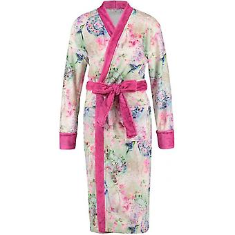 bathcoat women's polyester white/pink size L