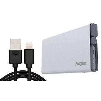 Energizer UE10004QC 10000mAh Dual Power Bank QC 3.0 met 1M iPhone-kabel - Wit