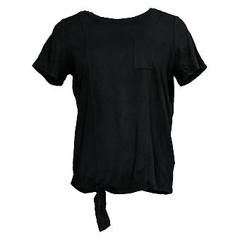 Anybody Women's Top Cozy Knit Side Tie T-Shirt w/ Pocket Black A353777