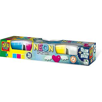 SES CREATIVE Childrens Modelleren Deeg Neon en Glow-in-the Dark Set 4 Potten 90g