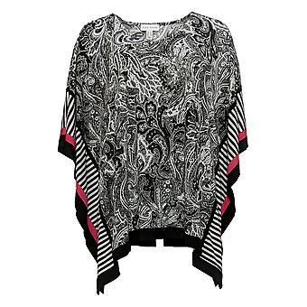 Susan Graver Women's Top Printed Liquid Knit Scarf Black A350996