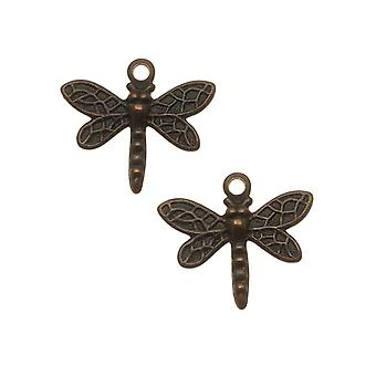 Vintaj Natural Brass Princess Dragonfly Charm Pärlor 12mm (2)