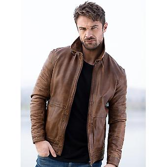 Drigg II Vegetable Tanned Leather Jacket in Tan