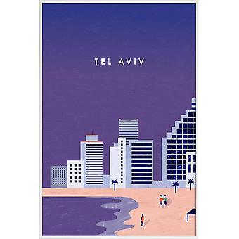JUNIQE Print - Tel Aviv - Vintage Travel Plakat i Lilla