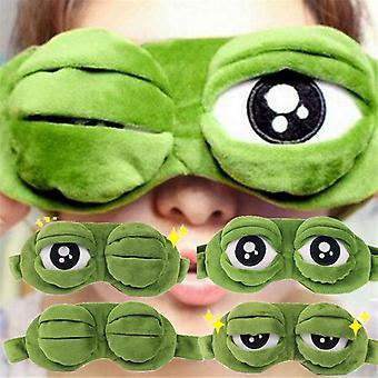 Trieste kikker 3d eye cover cartoon zachte pluche slaapmasker