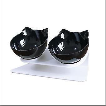 Mustavalkoinen liukumaton ruokakulho jalustakissakoiran vesikulho irrotettavalla lemmikkieläinten ruokinnalla az8853