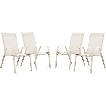"""Juego de 4 sillas jardín Textileno """"Cordoba"""" - Phoenix - Crudo"""