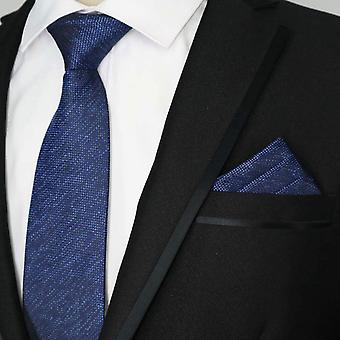 Karkea vankka sininen tweed look tie & pocket square