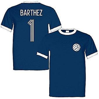 Sporting empire fabien barthez 1 france legend ringer retro t-shirt navy/white