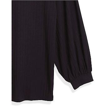Merk - Daily Ritual Women's Rayon Spandex Wide Rib Relaxed-Fit Blouson-Bracelet Sleeve Drop Shoulder Knit Top