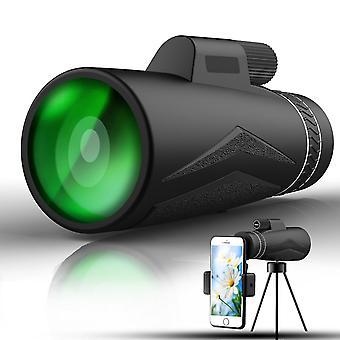 Telescopio monocular de vidrio Ed de alta potencia 12x50 con trípode porta smartphone