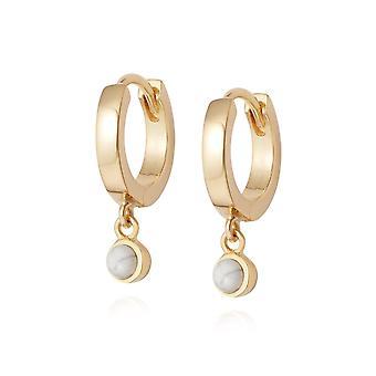 Daisy Howlite Healing Huggie Hoops 18ct Gold Plate Earrings HE3006_GP
