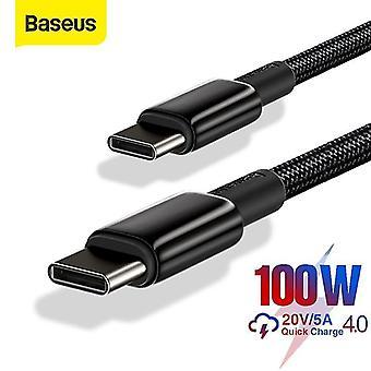 أسود USB C إلى C نوع الشحن السريع 4.0 USB C PD كابل لXiaomi سامسونج ماك بوك برو كابل البيانات