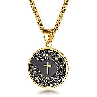 - Jag är inte så bra på det här.  Vintage religiösa smycken Mens Womens Rostfritt Stål Kors Runt Mynt Hänge Halsband