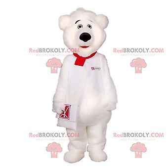 Maskottchen REDBROKOLY.COM weißer Teddybär mit Handtasche