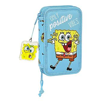 Triple Pencil Case Spongebob Positive Vibes Yellow Light Blue (28 pcs)