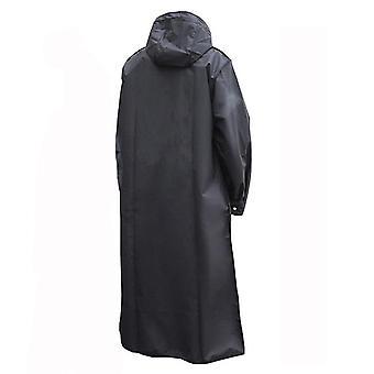 Black fashion adult waterproof long raincoat women men rain coat hooded for outdoor hiking travel fishing climbing thickened