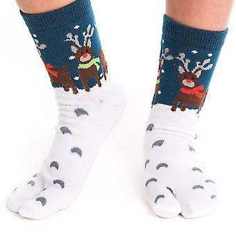 Flip Flop Socks - Reindeer Pattern