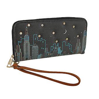 Красочные Cityscape сцены текстурированной Винил Zip вокруг бумажник