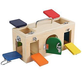 1 SZTUK Zabawka dla dzieci Kolorowy lock box Podstawowe umiejętności Zabawka Praktyczne życie Wczesne niemowlę Małe dziecko|