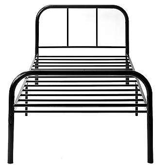 Black Single Metal Bed Frame For Adults Kids Teenagers