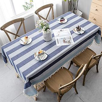 Spleiß Staubdichte Tischdecke, rechteckige Tischdecke, dekorative gestreifte Garten teetisch (140 * 140cm, blau und weiß)