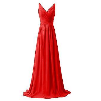 V-neck Long Lace Up Sky Bridesmaid Dress