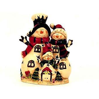Snowman Family Tea Light Holder Christmas Decoration