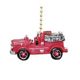 Vintage Fire Truck Fireman Ladder Firefighter Fan Pull