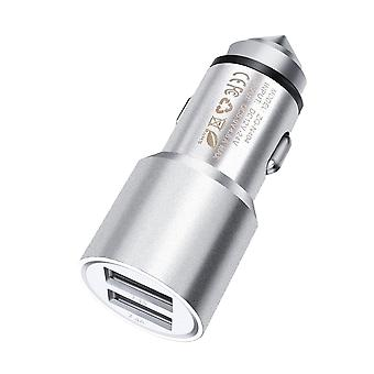 (Silver) Dual Port USB Car Charger With LED Indicator 3.1A For Supersonic Matrix MID SC-74MID