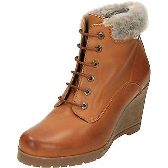 Carmela Leather Wedge Heeled Lace Up Ankle Boots Tan