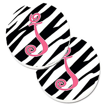 Monogram Initial J Zebra Stripe and Pink  Set of 2 Cup Holder Car Coasters