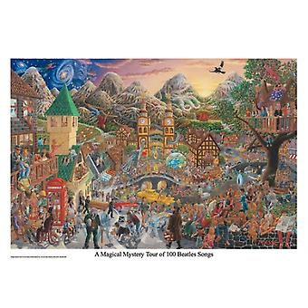 A Magical Mystery Tour of 100 Beatles Songs Poster Print by Tom Masse (32 x 22)
